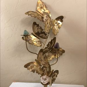 Brass butterfly wall art candle incense gem holder